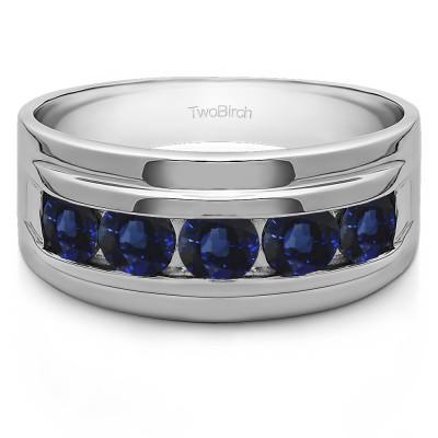 0.24 Ct. Sapphire Classic Five Stone Channel Set Men's Wedding Ring
