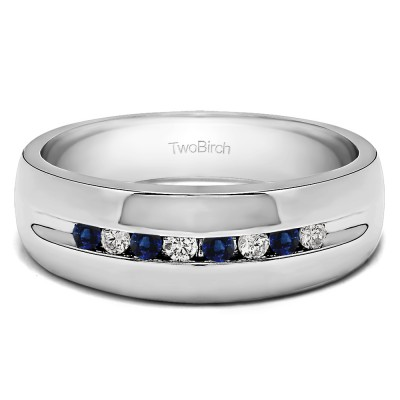 0.32 Ct. Sapphire and Diamond Eight Stone Thin Channel Set Men's Wedding Ring with Open Ends