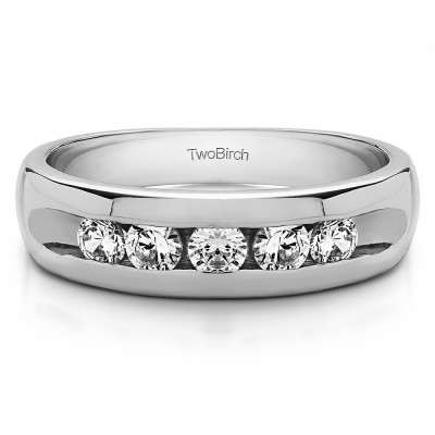 1 Ct. Wide Channel Set Men's Ring with Open End Design