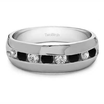 0.23 Ct. Black and White Stone Channel set Men's Band with Open Ended Channel