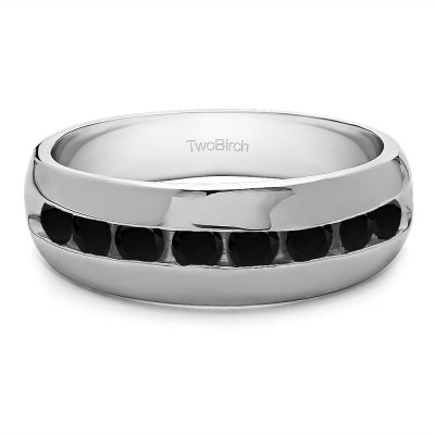 0.23 Ct. Black Stone Channel set Men's Band with Open Ended Channel