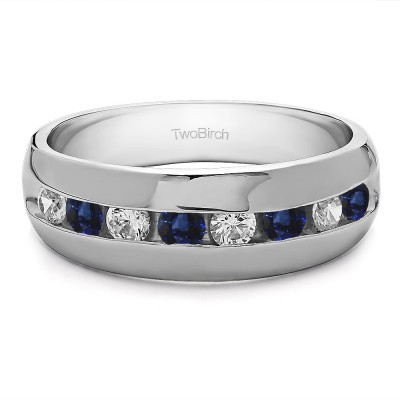 0.23 Ct. Sapphire and Diamond Channel set Men's Band with Open Ended Channel