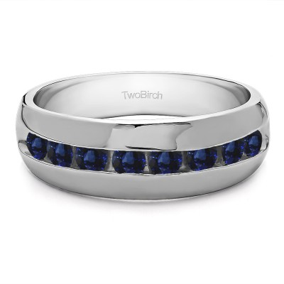 0.23 Ct. Sapphire Channel set Men's Band with Open Ended Channel