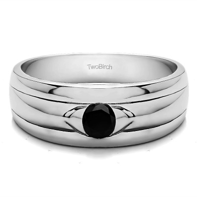 0.25 Ct. Black Stone Burnished Solitaire Men's Wedding Ring with Ribbed Shank