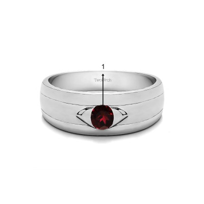 0.25 Ct. Birthstone Burnished Solitaire Men's Wedding Ring with Ribbed Shank in White Gold