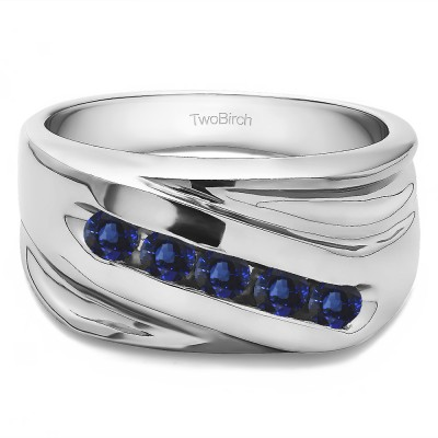 0.5 Ct. Sapphire Five Stone Channel Set Ribbed Shank Men's Wedding Band