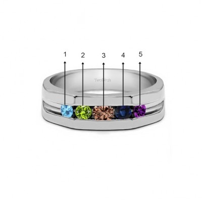 0.51 Ct. Five Birthstone Channel Set Open Ended Men's Ring in White Gold