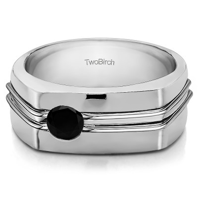 0.5 Ct. Black Stone Burnished Solitaire Men's Wedding Ring