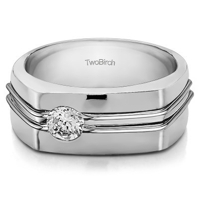 0.5 Ct. Burnished Solitaire Men's Wedding Ring