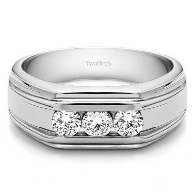 0.33 Ct. Three Stone Channel Set Men's Wedding Ring