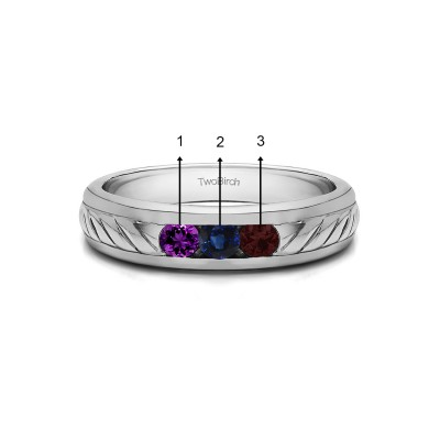 0.5 Ct. Three Birthstone Men's Wedding Ring with Ribbed Shank in White Gold