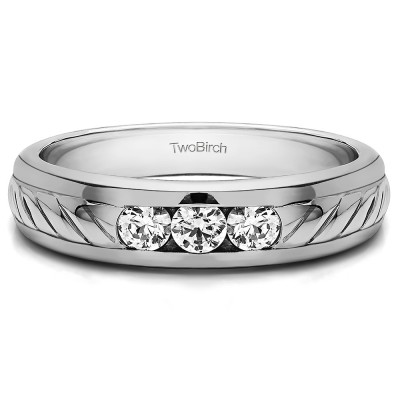 0.5 Ct. Three Stone Men's Wedding Ring with Ribbed Shank
