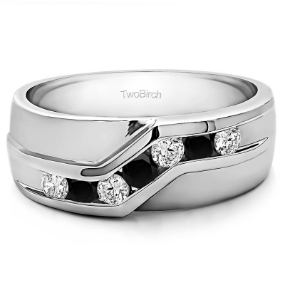 0.75 Ct. Black and White Stone Twisted Channel Set Men's Wedding Band