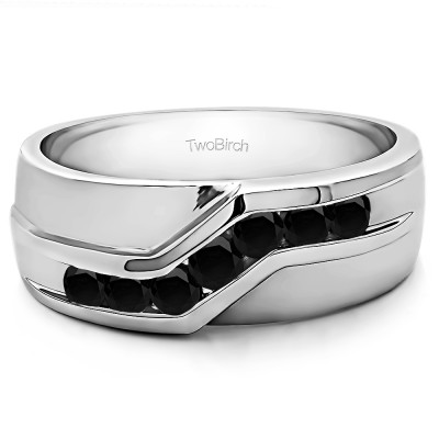 0.24 Ct. Black Stone Twisted Channel Set Men's Wedding Band