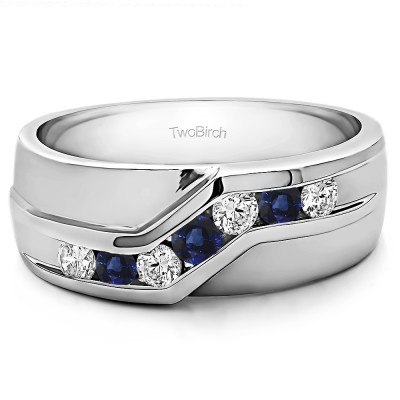 0.24 Ct. Sapphire and Diamond Twisted Channel Set Men's Wedding Band