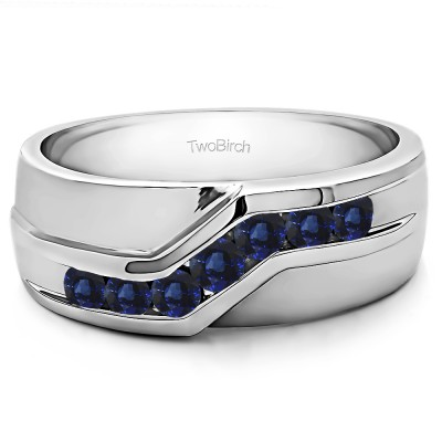 0.24 Ct. Sapphire Twisted Channel Set Men's Wedding Band