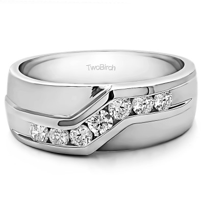 0.24 Ct. Twisted Channel Set Men's Wedding Band