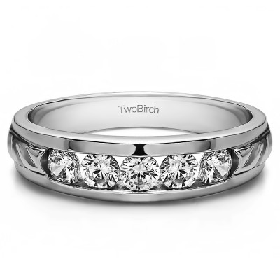 0.3 Ct. Five Stone Channel Set Men's Wedding Ring With Brilliant Moissanite Mounted in Sterling Silver (Size 7.5)