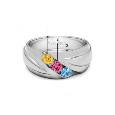 0.48 Ct. Three Birthstone Channel Set Ribbed Men's Wedding Ring in White Gold