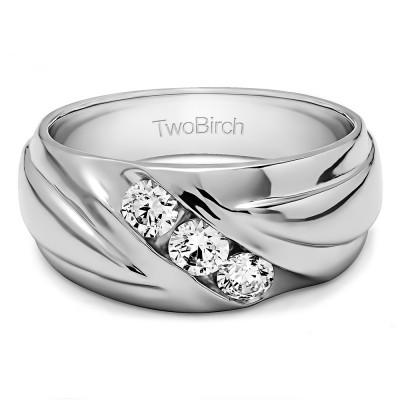 0.15 Ct. Three Stone Channel Set Ribbed Men's Wedding Ring