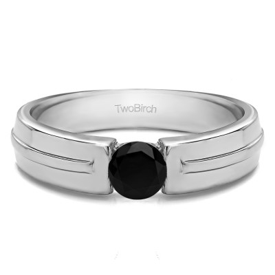 0.5 Ct. Black Stone Tension Set Solitaire Men's Wedding Band