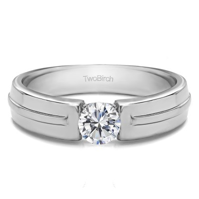 0.5 Ct. Tension Set Solitaire Men's Wedding Band