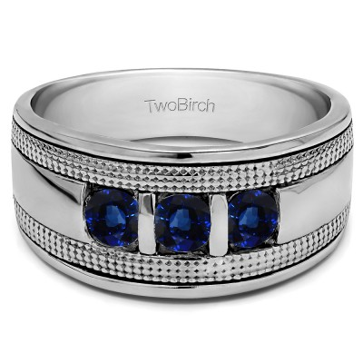 0.33 Ct. Sapphire Three Stone Bar Set Men's Ring with Millgrained Detailing