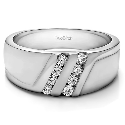 0.5 Ct. Double Row Twisted Channel Set Men's Wedding Band With Brilliant Moissanite Mounted in Sterling Silver (Size 9.5)
