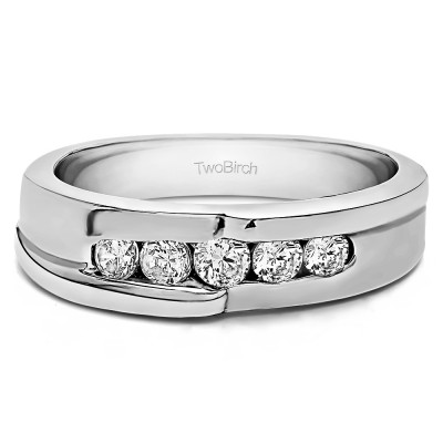 TwoBirch Sterling Silver Twisted Channel Set Men's Wedding Band With Diamonds(G,I2)(0.25Ct. Size 11)