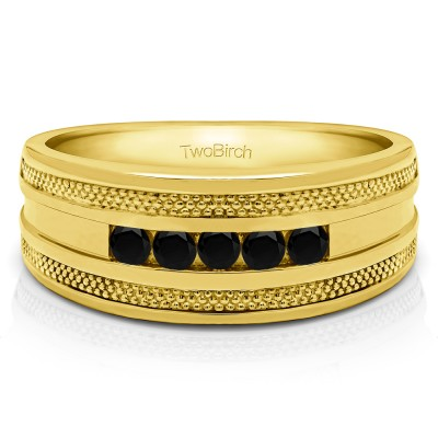 0.25 Ct. Black Five Stone Channel Set Men's Wedding Ring with Millgrained Edges in Yellow Gold