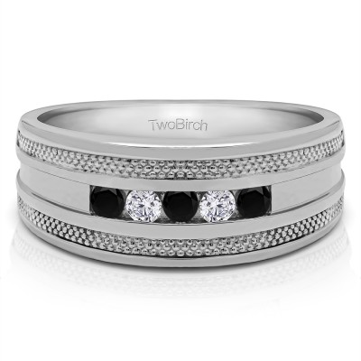 0.5 Ct. Black and White Five Stone Channel Set Men's Wedding Ring with Millgrained Edges