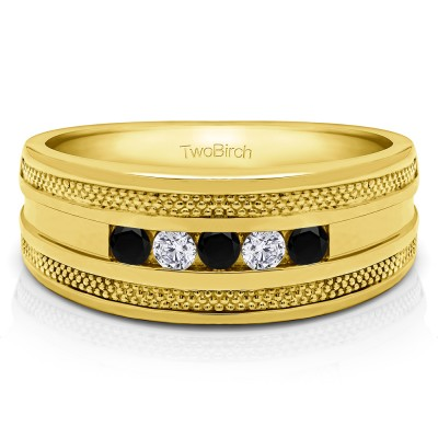 0.5 Ct. Black and White Five Stone Channel Set Men's Wedding Ring with Millgrained Edges in Yellow Gold