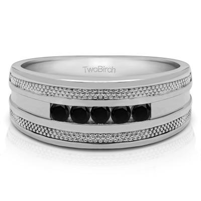 0.5 Ct. Black Five Stone Channel Set Men's Wedding Ring with Millgrained Edges
