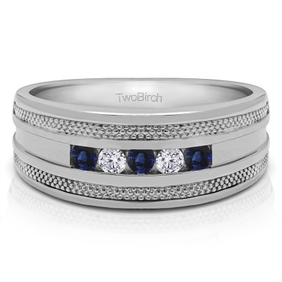 0.5 Ct. Sapphire and Diamond Five Stone Channel Set Men's Wedding Ring with Millgrained Edges