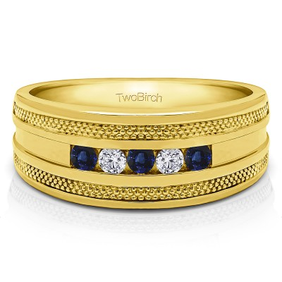 0.5 Ct. Sapphire and Diamond Five Stone Channel Set Men's Wedding Ring with Millgrained Edges in Yellow Gold