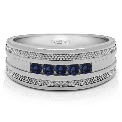 0.5 Ct. Sapphire Five Stone Channel Set Men's Wedding Ring with Millgrained Edges