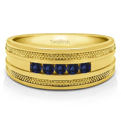 0.5 Ct. Sapphire Five Stone Channel Set Men's Wedding Ring with Millgrained Edges in Yellow Gold