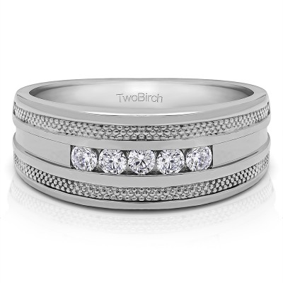 0.5 Ct. Five Stone Channel Set Men's Wedding Ring with Millgrained Edges