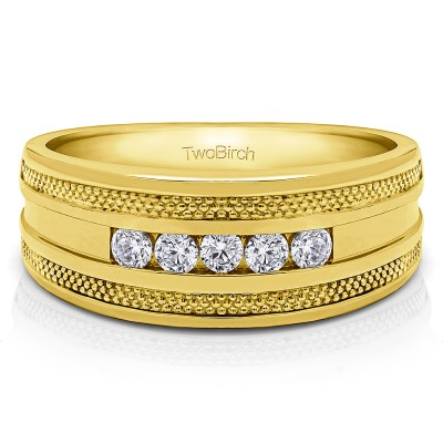 0.5 Ct. Five Stone Channel Set Men's Wedding Ring with Millgrained Edges in Yellow Gold