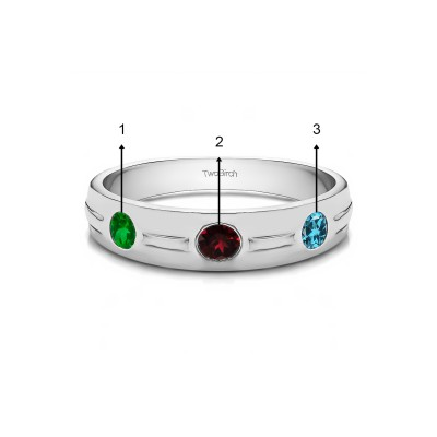 0.48 Ct. Birthstone Burnished Three Stone Men's Wedding Ring with Ribbed Shank in White Gold