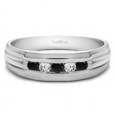0.5 Ct. Black and White Five Stone Channel Set Men's Wedding Ring with Ribbed Design