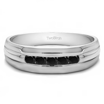 0.5 Ct. Black Five Stone Channel Set Men's Wedding Ring with Ribbed Design