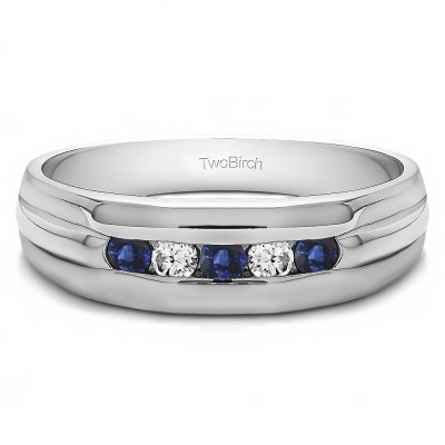 0.5 Ct. Sapphire and Diamond Five Stone Channel Set Men's Wedding Ring with Ribbed Design