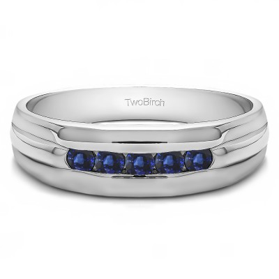 0.5 Ct. Sapphire Five Stone Channel Set Men's Wedding Ring with Ribbed Design