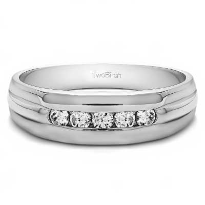 0.5 Ct. Five Stone Channel Set Men's Wedding Ring with Ribbed Design