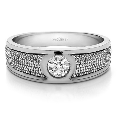 0.38 Ct. Solitaire Burnished Men's Wedding Ring with Designed Band