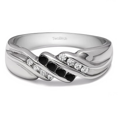 0.32 Ct. Black and White Stone Triple Row Channel Set Men's Wedding Ring with Twisted Shank