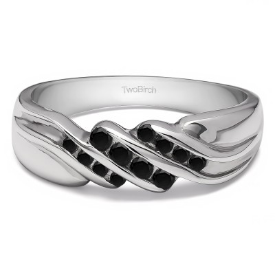 0.32 Ct. Black Stone Triple Row Channel Set Men's Wedding Ring with Twisted Shank
