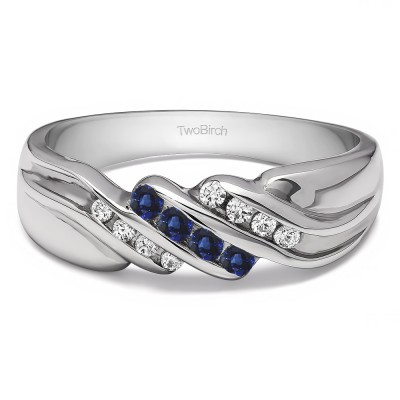 0.32 Ct. Sapphire and Diamond Triple Row Channel Set Men's Wedding Ring with Twisted Shank
