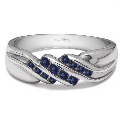 0.32 Ct. Sapphire Triple Row Channel Set Men's Wedding Ring with Twisted Shank